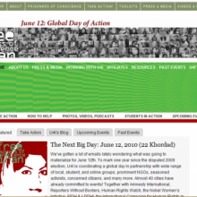 Two of the websites announcing the day of action on 12 June.