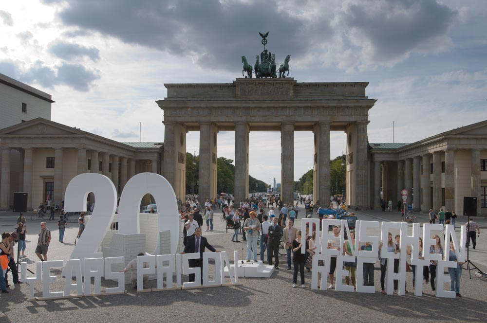 Some 400 people, including numerous human rights advocates, attended an event on Sunday 12 September at Berlin's historic Brandenburg Gate calling for the release of Iran's seven Baha'i leaders, each initially sentenced to 20 years in prison.