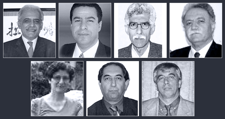 The seven Baha'i educators sentenced to prison are (top row, left to right): Mahmoud Badavam, Ramin Zibaie, Riaz Sobhani, Farhad Sedghi; (bottom row, left to right) Noushin Khadem, Kamran Mortezaie, and Vahid Mahmoudi.