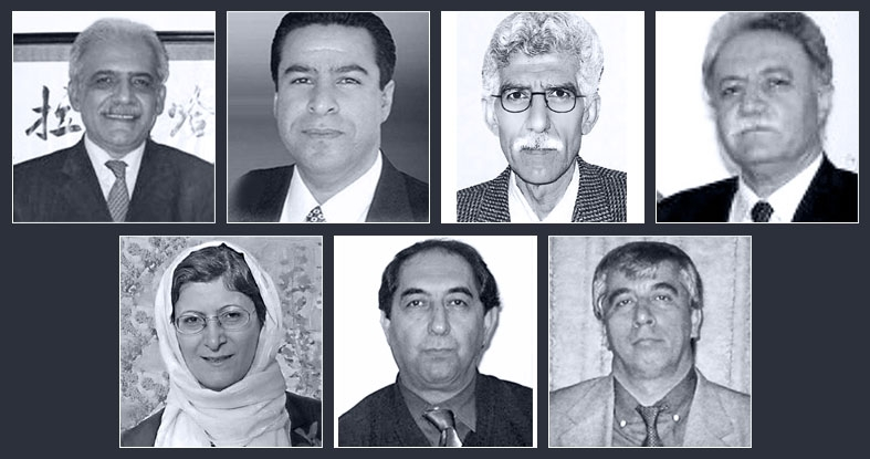 The seven imprisoned Baha'i educators are (top row, left to right): Mahmoud Badavam, Ramin Zibaie, Riaz Sobhani, Farhad Sedghi; (bottom row, left to right) Noushin Khadem, Kamran Mortezaie, and Vahid Mahmoudi.