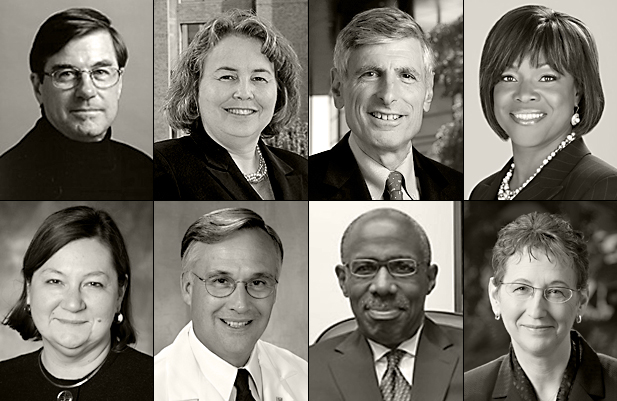 Some of the 48 Deans and Senior Vice-Presidents of American medical schools who have signed an open letter condemning the Iranian government's persecution of Baha'i students and educators. Pictured are, top row from left to right: D. Craig Brater, Betty M. Drees, Philip Pizzo, Valerie Montgomery Rice; Bottom row, from left to right: Pamela B. Davis, James Woolliscroft, Mark S. Johnson, and Marsha D. Rappley.