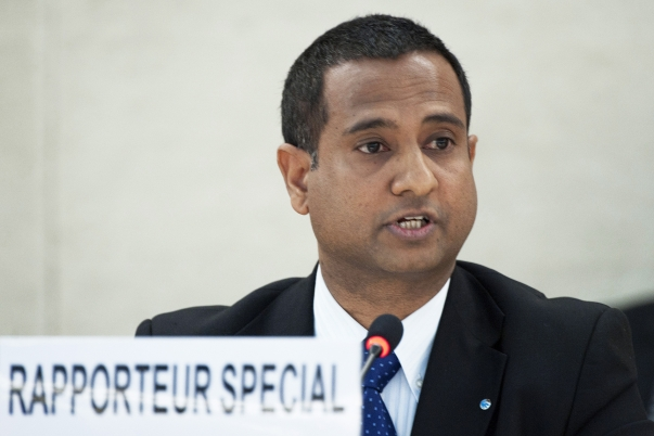 Ahmed Shaheed, the UN Special Rapporteur on the Situation of Human Rights in the Islamic Republic of Iran, briefs the Human Rights Council on Monday 12 March. A former foreign minister of the Maldives, Dr. Shaheed was appointed to his post last June after a period of some nine years during which no one had held that position. UN Photo/Jean-Marc Ferré.