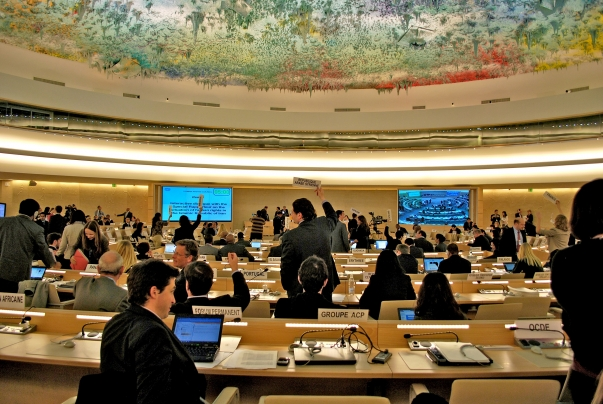Country and NGO representatives at the UN Human Rights Council in Geneva, Switzerland, participating in an interactive dialog with the Special Rapporteur on the Situation of Human Rights in the Islamic Republic of Iran, 12 March 2012.