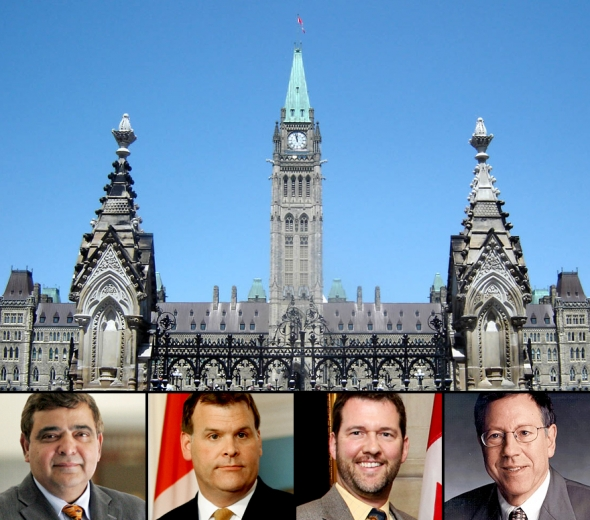 Canada's House of Commons debate on Iran's human rights violations coincided with the fourth anniversary of the arrest of six of the seven imprisoned Baha'i leaders. Foreign Affairs Minister John Baird issued a statement marking the anniversary. Pictured (left to right): Deepak Obhrai, Parliamentary Secretary to the Minister of Foreign Affairs; John Baird, Minister of Foreign Affairs; Scott Reid; and Irwin Cotler.