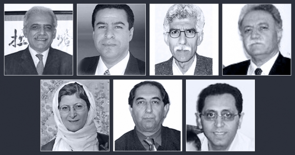 Seven Baha'i educators currently serving prison terms are (top row, left to right): Mahmoud Badavam, Ramin Zibaie, Riaz Sobhani, Farhad Sedghi; (bottom row, left to right) Noushin Khadem, Kamran Mortezaie, and Kamran Rahimian.