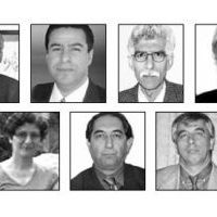 Educators affiliated with the Bahai Institute for Higher Education who have been imprisoned in Iran, from left to right, top: Mahmoud Badavam, Ramin Zibaie, Riaz Sobhani, Farhad Sedghi; bottom: Noushin Khadem, Kamran Mortezaie, Vahid Mahmoudi