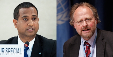 Pictured, from left: Ahmed Shaheed, UN Special Rapporteur on the Situation of Human Rights in the Islamic Republic of Iran, and Heiner Bielefeldt, UN Special Rapporteur on Freedom of Religion or Belief. UN Photos/Jean-Marc Ferre and Paulo Filgueiras.