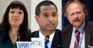 (From left to right) Rita Izsak, the United Nations Independent Expert on minority issues; Ahmed Shaheed, the United Nations Special Rapporteur on the situation of human rights in Iran; Heiner Bielefeldt, the United Nations Special Rapporteur on freedom of religion or belief. UN Photos/Jean-Marc Ferre and Paulo Filgueiras.