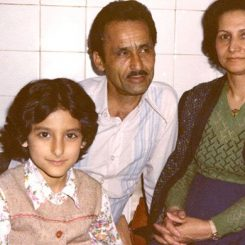 Hussein Motlagh and his family, this photo is taken in prison by the aid of prison guards and warden