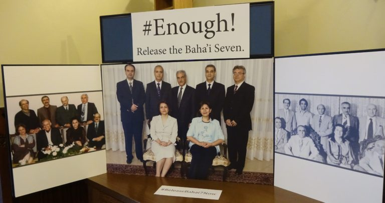 Photo-display-of-the-Bahai-seven-centre-the-Bahai-leaders-who-were-executed-left-and-those-that-disappeared-right-768x405