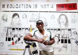 Tony Bryant works in his Woodway studio on new mural for the Waco Baha'i Center and the Education is Not a Crime movement. The mural will be unveiled at the center, 2500 Bosque Blvd., on Nov. 12.