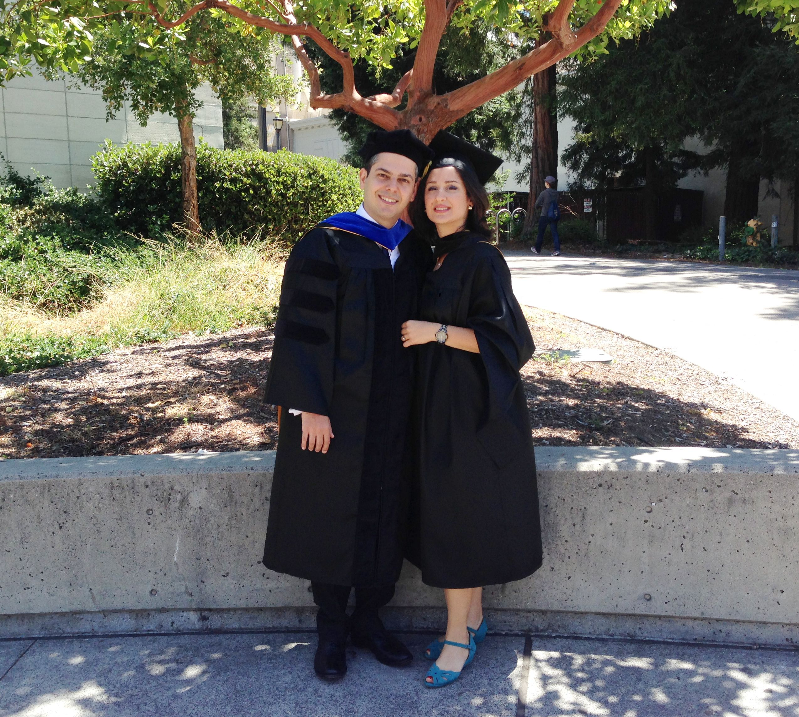 Niknaz Aftahi with her husband Fares at her graduation from UC Berkeley in 2014. (Niknaz Aftahi)