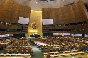 An interior view of the United Nations General Assembly hall in New York City. Photo credit: UN/Sophia Paris