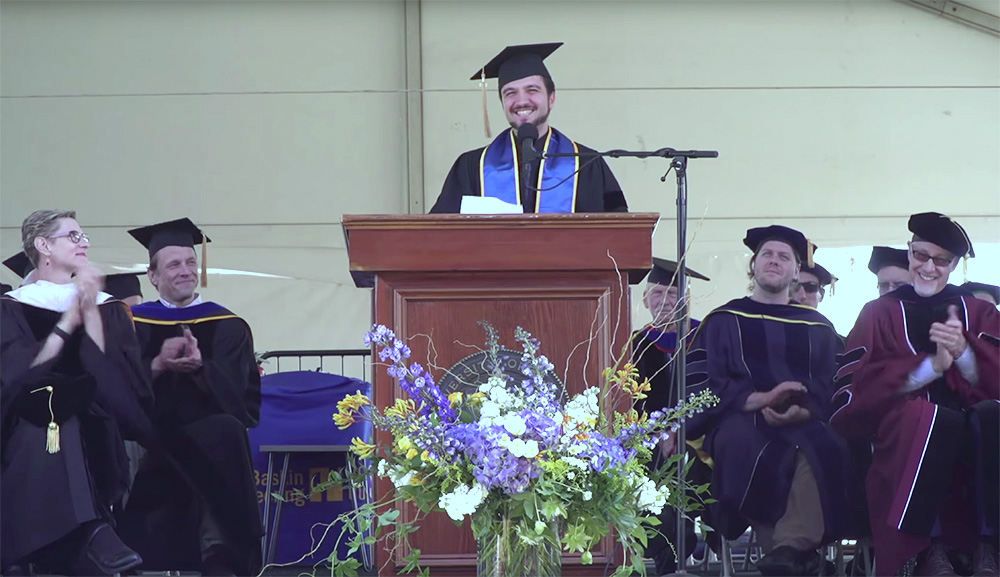 Dr. Holakou Rahmanian talks about social injustice and resisting oppression at the University of California in Santa Cruz Baskin School of Engineering 2018 commencement ceremony.