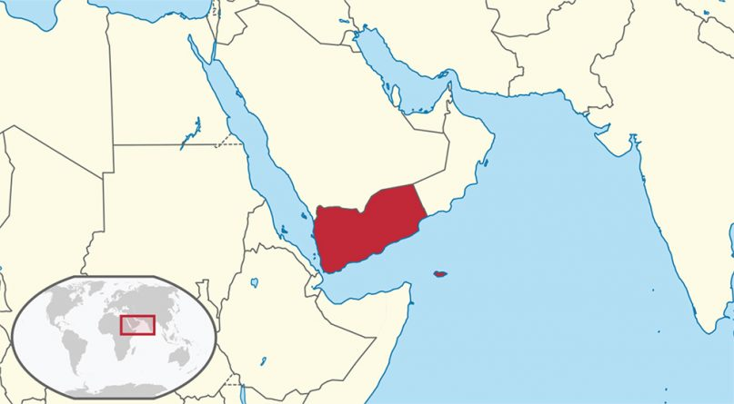 Yemen, in red, in the Middle East. Map courtesy of Creative Commons