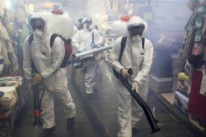 Firefighters disinfect a shopping centre in northern Tehran. Despite a potential second wave of coronavirus infections (new cases have averaged around 2,500 a day since the start of June) a new wave of arrests has targeted at least 77 Bahá'í's. Picture: Ebrahim Noroozi/AP