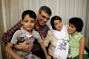 Nasrin Sotoudeh (second from right) poses with her husband, Reza Khandan, her son Nima, and her daughter Mehraveh at her house in Tehran in September 2013.