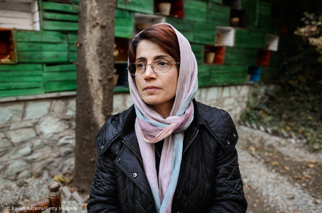 "Human rights lawyer Nasrin Sotoudeh, who represented women who removed their religious headscarves, is in prison on charges of ""conspiracy against national security."" (© Kaveh Kazemi/Getty Images)"