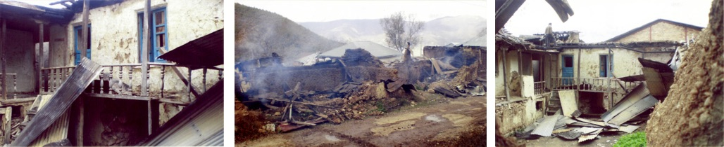 Homes of Baha'i from Ivel set on fire by unknown arsonists in May 2007.