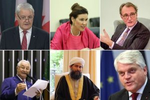 Leading Muslims, government officials, and parliamentarians around the world have joined a growing outcry at the unjust confiscation of properties owned by Bahá'ís in the Iranian farming village of Ivel. Pictured here are, clockwise from top right: Canadian Foreign Minister March Garneau; Annika Ben David of the Swedish Foreign Ministry; Jos Douma, the Netherlands' Special Envoy for Religion or Belief; Markus Grübel, Germany's Commissioner for Global Freedom of Religion; Shaykh Ibrahim Mogra of the UK; and Brazilian Member of Parliament Frei Anastácio.