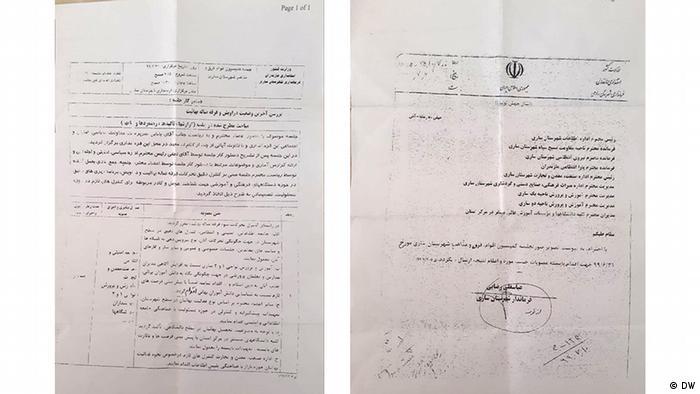 This document shown to DW gives the rundown of a meeting last fall where senior officials agreed to systematically persecute the Baha'i